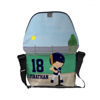 Personalized Cute Baseball cartoon player Small Messenger Bag
