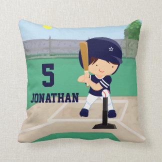 Personalized Cute Baseball cartoon player Throw Pillow
