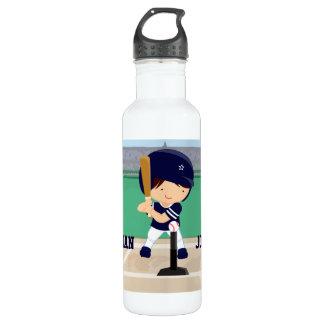 Personalized Cute Baseball cartoon player Water Bottle