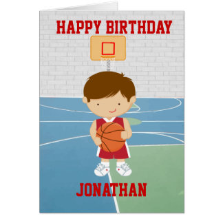 Personalized Cute basketball Birthday Card