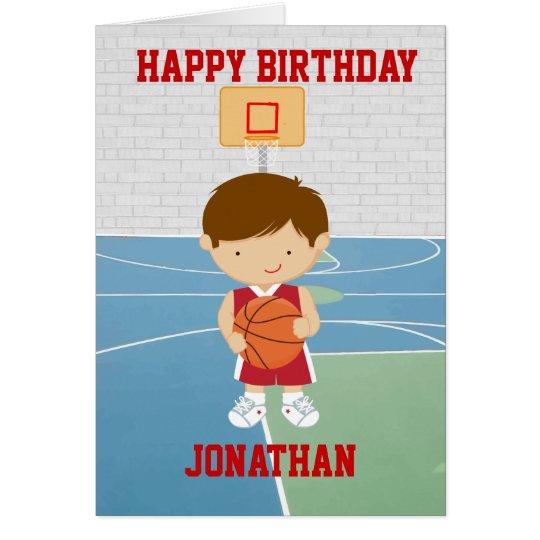 Personalized Cute basketball Birthday Card