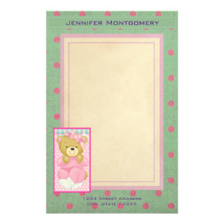 Personalized Cute Bear in Pink Stationery