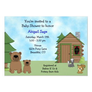 Personalized Cute Bears and Cabin Boys Baby Shower Card