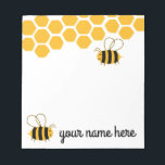 "Personalized Cute Bees Notepad<br><div class=""desc"">Personalized Cute Bees Notepad</div>"