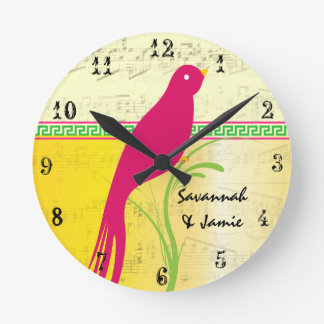 Personalized Cute Bird Yellow Pink and Green Round Clock