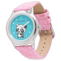 Personalized Cute Black and White Panda Bear Watch