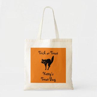 Personalized Cute Black Cat Halloween Tote Bag