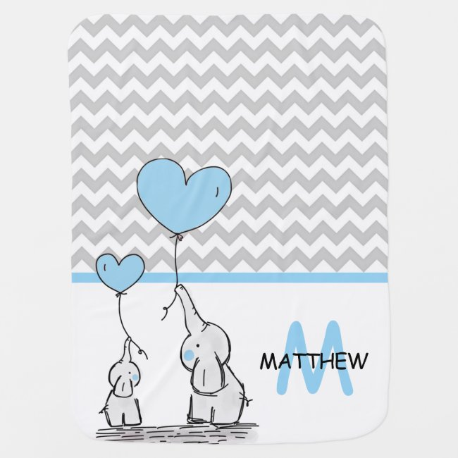 Personalized Cute Blue Elephant Chevron Grey BOY Baby Blanket