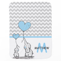Personalized Cute Blue Elephant Chevron Grey BOY Baby Blanket