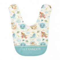 Personalized Cute Blue Over the Moon Baby Bib
