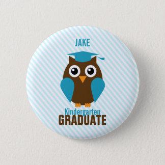 Personalized Cute Blue Owl Kindergarten Graduate Button