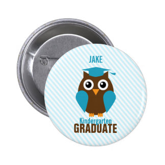 Personalized Cute Blue Owl Kindergarten Graduate Pinback Button