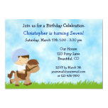 Personalized Cute Boy Riding Brown Horse Birthday 5x7 Paper Invitation Card