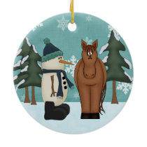 Personalized Cute Brown Horse and Funny Snowman Ceramic Ornament