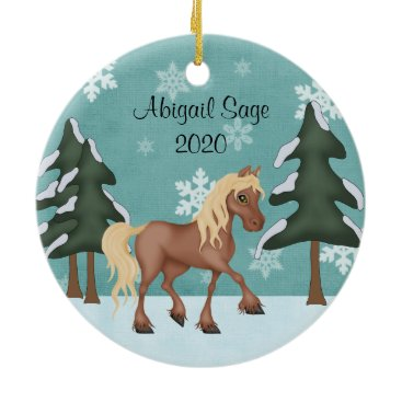 Christmas Themed Personalized Cute Brown Horse Christmas Ceramic Ornament