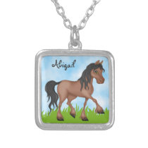 Personalized Cute Brown Horse Silver Plated Necklace