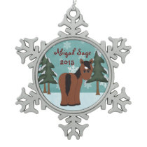 Personalized Cute Brown Horse with Heart Star Snowflake Pewter Christmas Ornament