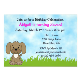 Personalized Cute Brown Puppy Dog Girls Birthday 5x7 Paper Invitation Card