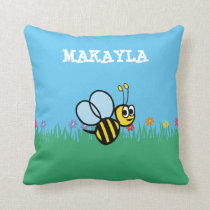 Personalized Cute Bumble Bee in Garden Throw Pillow