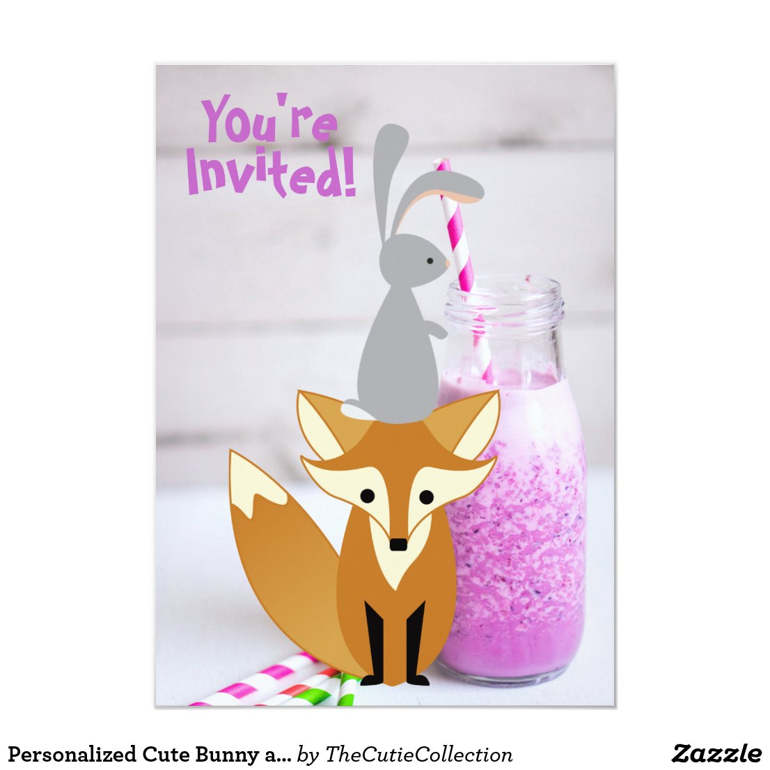 Personalized Cute Bunny and Fox Milkshake Birthday Card