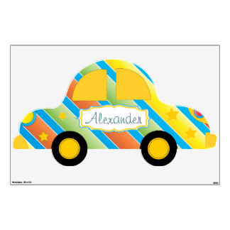 Personalized Cute Car Baby Boy  Toddler Wall Decal