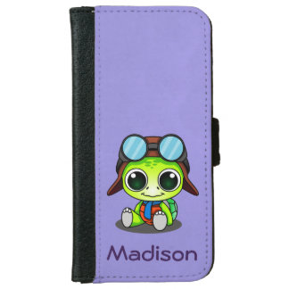 Personalized Cute Cartoon Turtle in Aviator Hat Wallet Phone Case For iPhone 6/6s