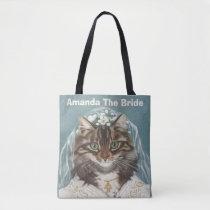 Personalized cute cat bride tote bag
