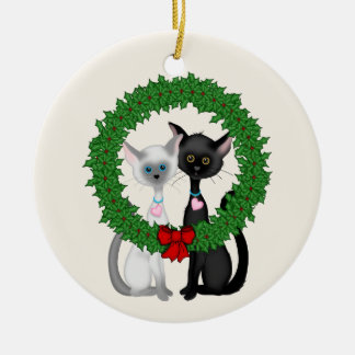 Personalized Cute Cats First Christmas Ornament