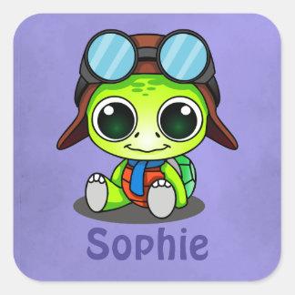 Personalized Cute Chibi Cartoon Turtle Square Sticker