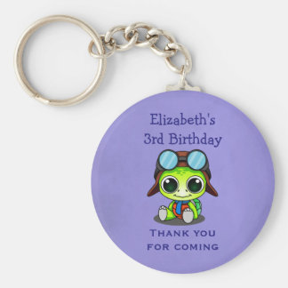 Personalized Cute Chibi Turtle Birthday Favor Keychain