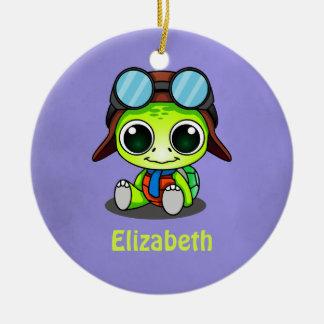 Personalized Cute Chibi Turtle in Aviator Hat Ceramic Ornament