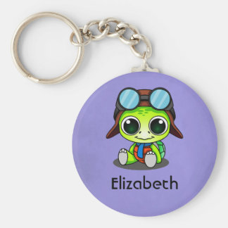 Personalized Cute Chibi Turtle in Aviator Hat Basic Round Button Keychain