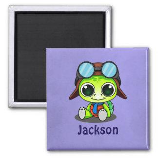 Personalized Cute Chibi Turtle in Aviator Hat Magnet