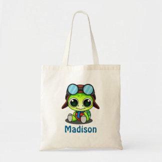 Personalized Cute Chibi Turtle in Aviator Hat Tote Bag