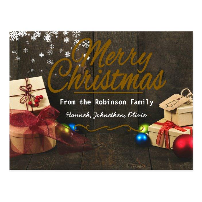 Personalized Cute Christmas Cards Custom Text Zazzle Com