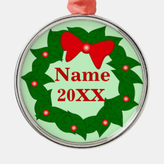 Personalized Cute Christmas Wreath Ornament