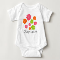 Personalized Cute Colorful Flowers Kids Design Baby Bodysuit