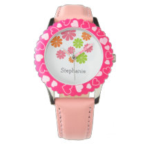 Personalized Cute Colorful Flowers Kids Design Wrist Watch