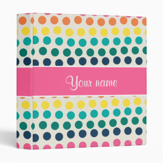 Personalized Cute Colorful Polka Dots Binder