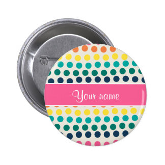 Personalized Cute Colorful Polka Dots Button