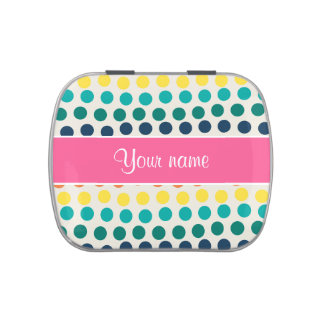 Personalized Cute Colorful Polka Dots Candy Tin
