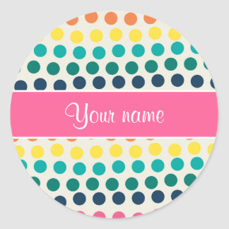 Personalized Cute Colorful Polka Dots Classic Round Sticker