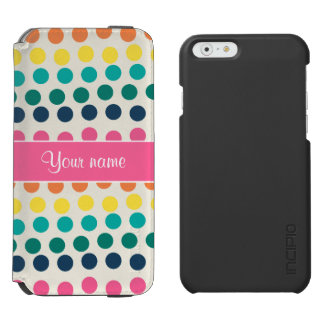 Personalized Cute Colorful Polka Dots iPhone 6/6s Wallet Case