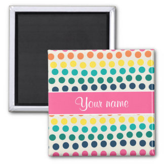 Personalized Cute Colorful Polka Dots Magnet