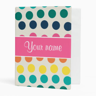 Personalized Cute Colorful Polka Dots Mini Binder