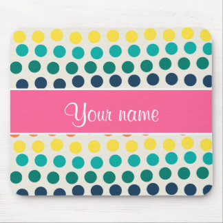 Personalized Cute Colorful Polka Dots Mouse Pad
