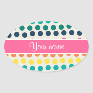 Personalized Cute Colorful Polka Dots Oval Sticker