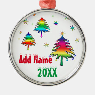 Personalized Cute Colorful Rainbow Trees Ornament