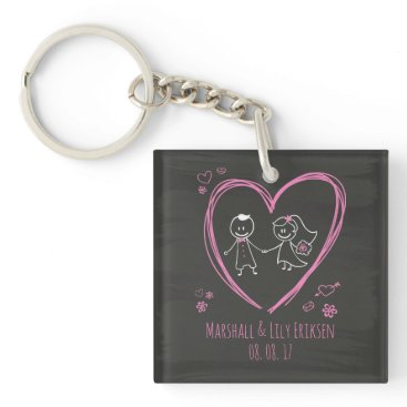 Halloween Themed Personalized Cute Couple Wedding | Keychain