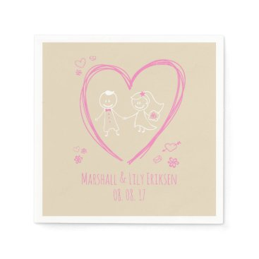 Halloween Themed Personalized Cute Couple Wedding | Napkin